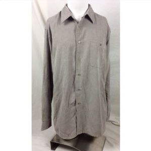 Northcrest Microfiber Button Up Shirt Taupe Brown